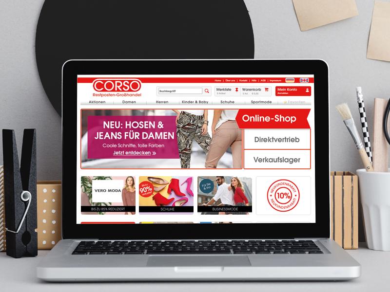 Corso Restposten Großhandel, Webdesign -Corinne Brockmüller
